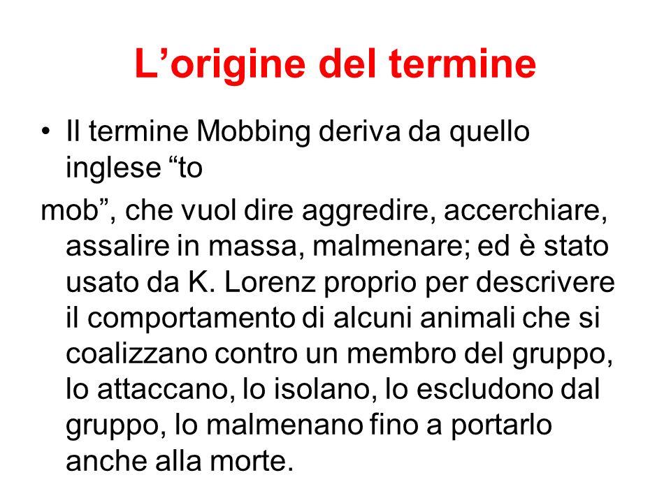 L'origine del termine Il termine Mobbing deriva da quello inglese to
