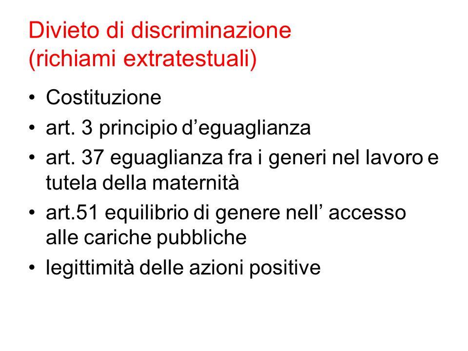Divieto di discriminazione (richiami extratestuali)