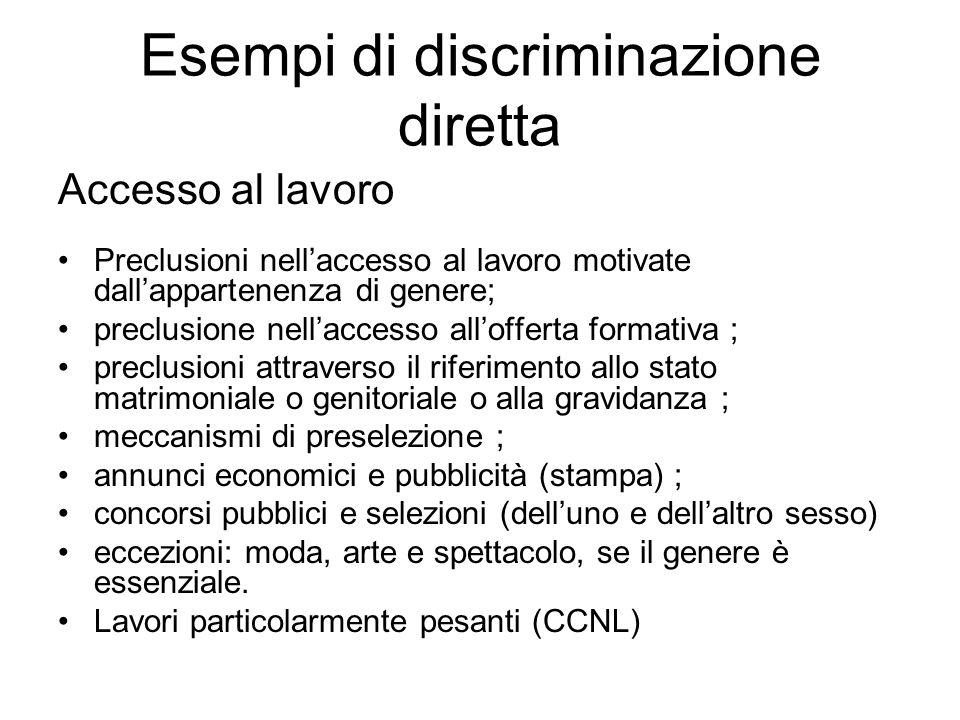 Esempi di discriminazione diretta