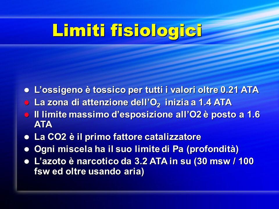 Limiti fisiologici L'ossigeno è tossico per tutti i valori oltre 0.21 ATA. La zona di attenzione dell'O2 inizia a 1.4 ATA.