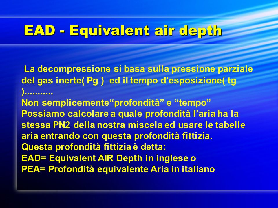 EAD - Equivalent air depth