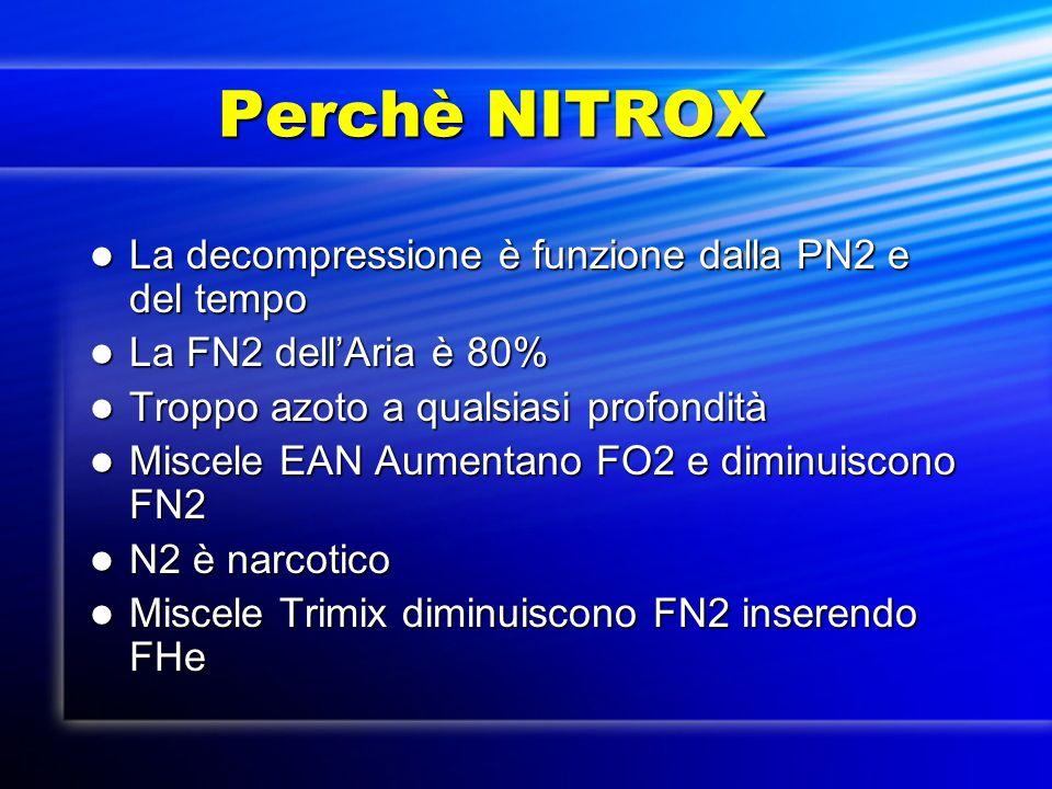 Perchè NITROX La decompressione è funzione dalla PN2 e del tempo