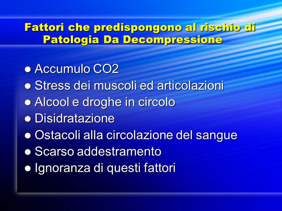 Fattori che predispongono al rischio di Patologia Da Decompressione