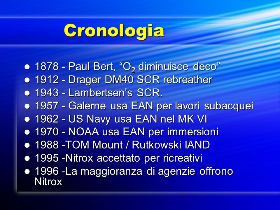 Cronologia 1878 - Paul Bert, O2 diminuisce deco