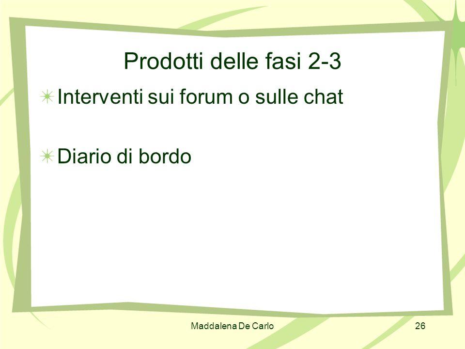Prodotti delle fasi 2-3 Interventi sui forum o sulle chat
