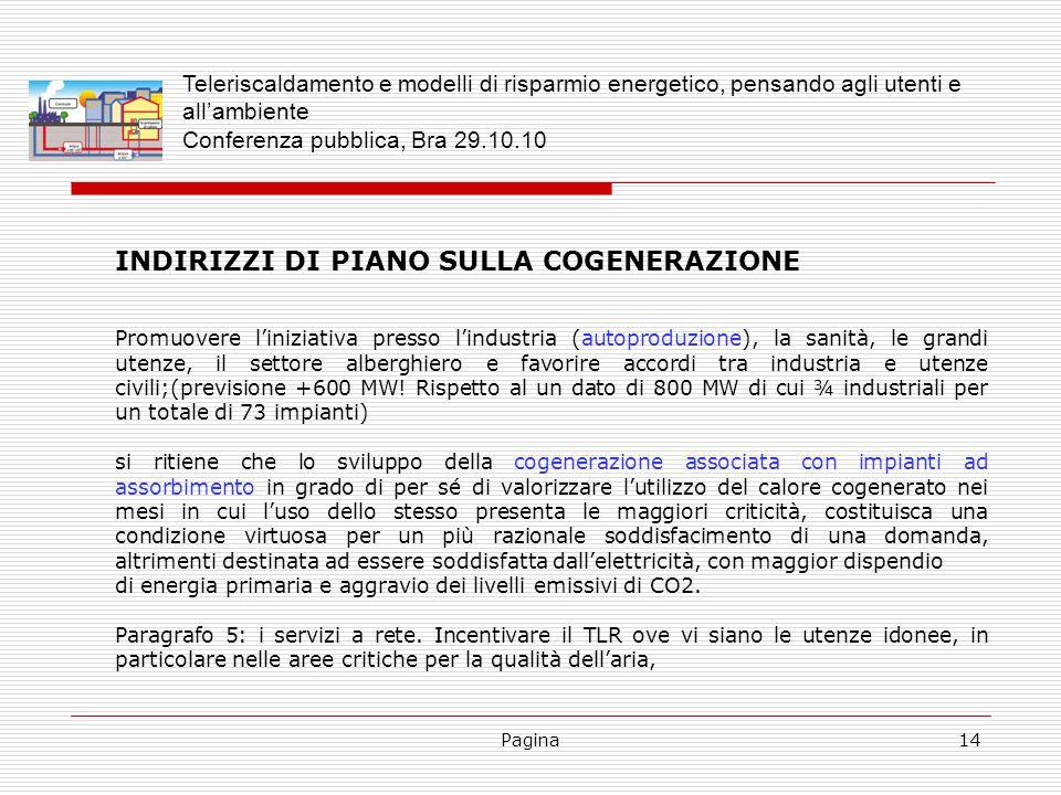 INDIRIZZI DI PIANO SULLA COGENERAZIONE