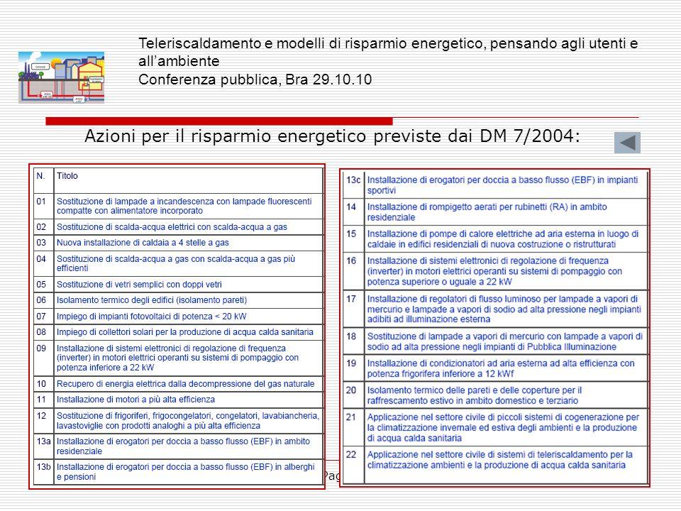 Azioni per il risparmio energetico previste dai DM 7/2004: