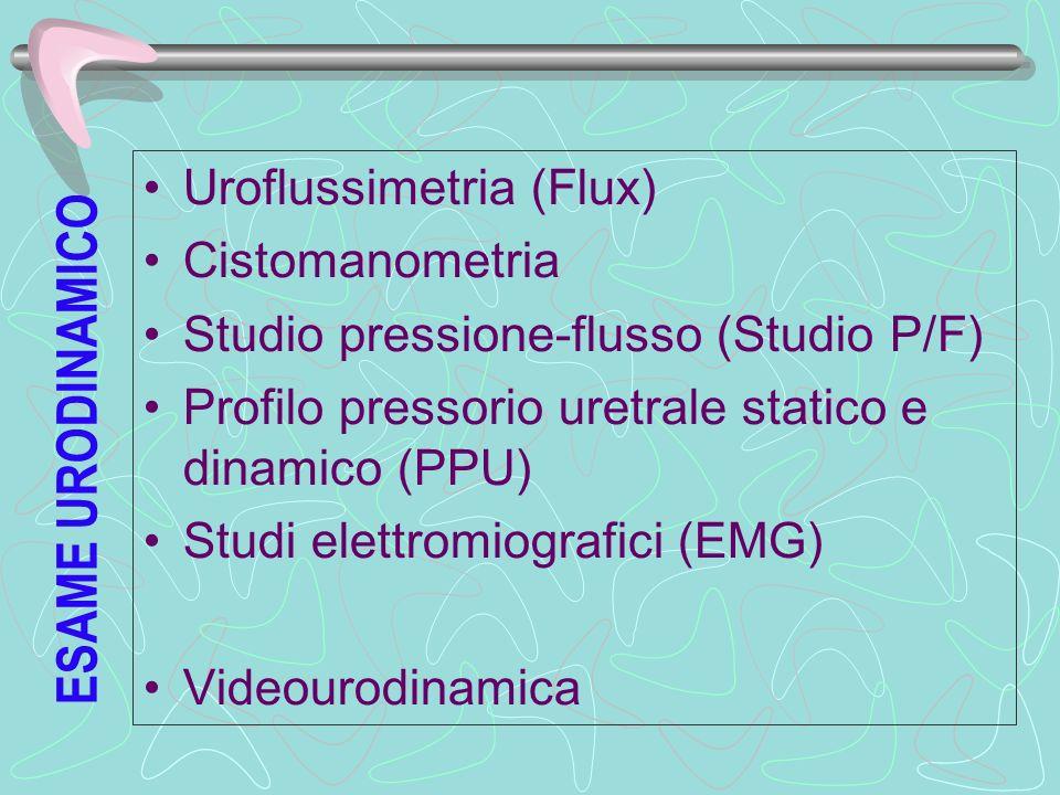 ESAME URODINAMICO Uroflussimetria (Flux) Cistomanometria