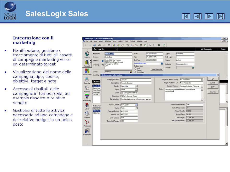SalesLogix Sales Integrazione con il marketing