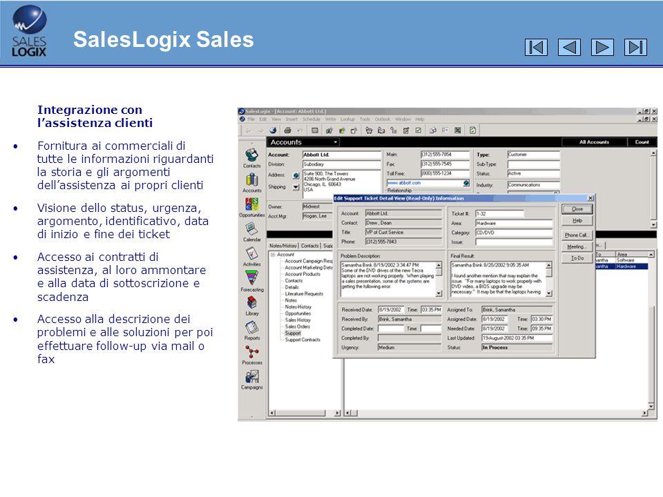SalesLogix Sales Integrazione con l'assistenza clienti