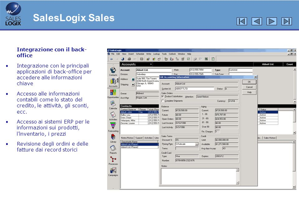 SalesLogix Sales Integrazione con il back-office