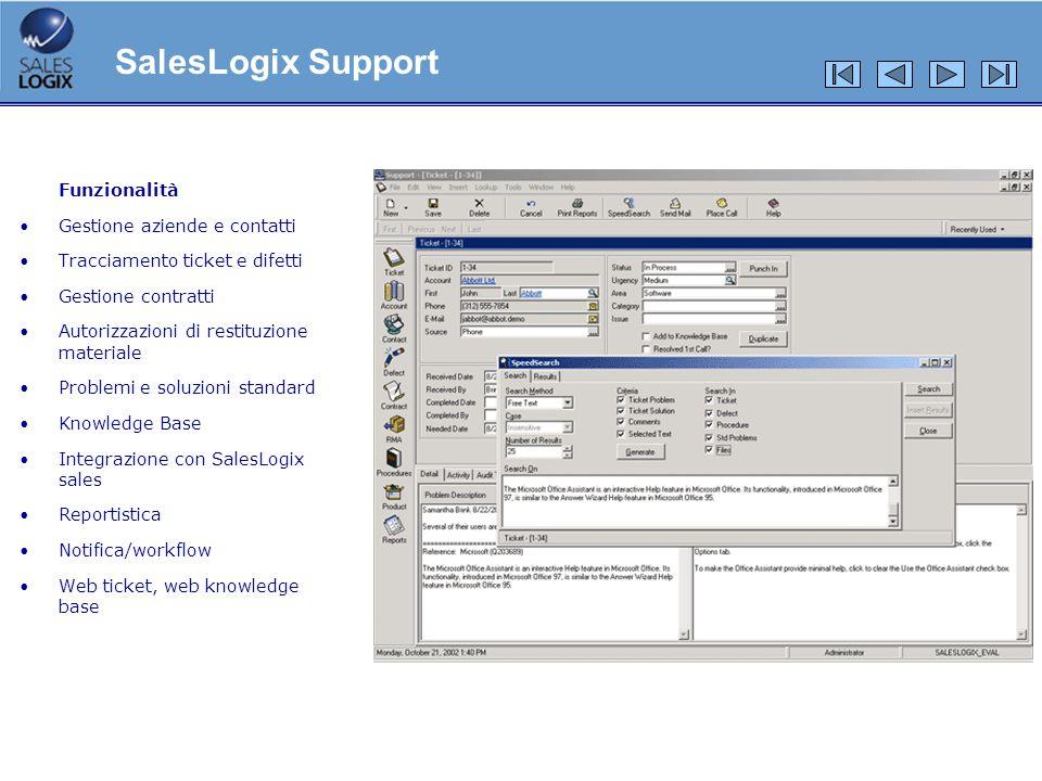 SalesLogix Support Funzionalità Gestione aziende e contatti