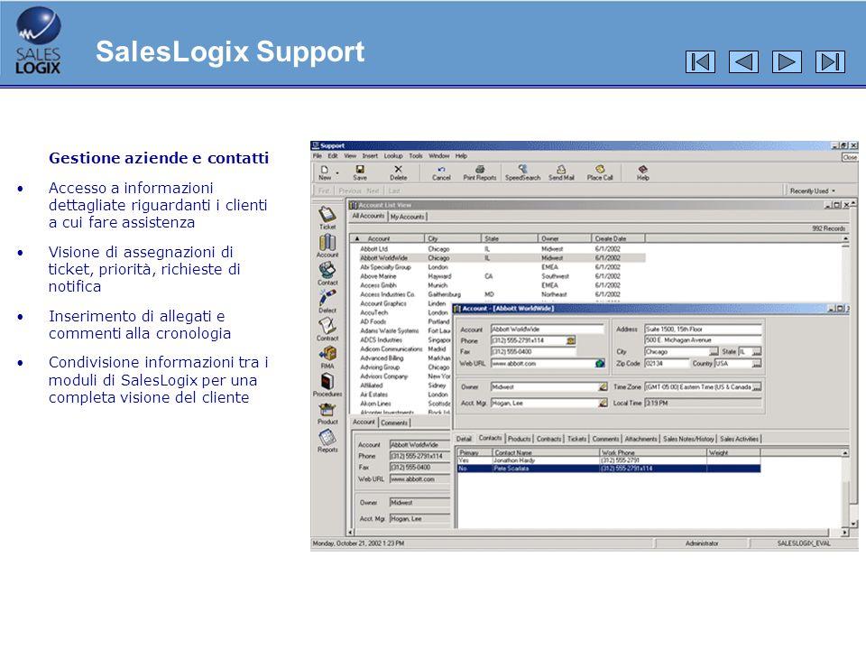 SalesLogix Support Gestione aziende e contatti