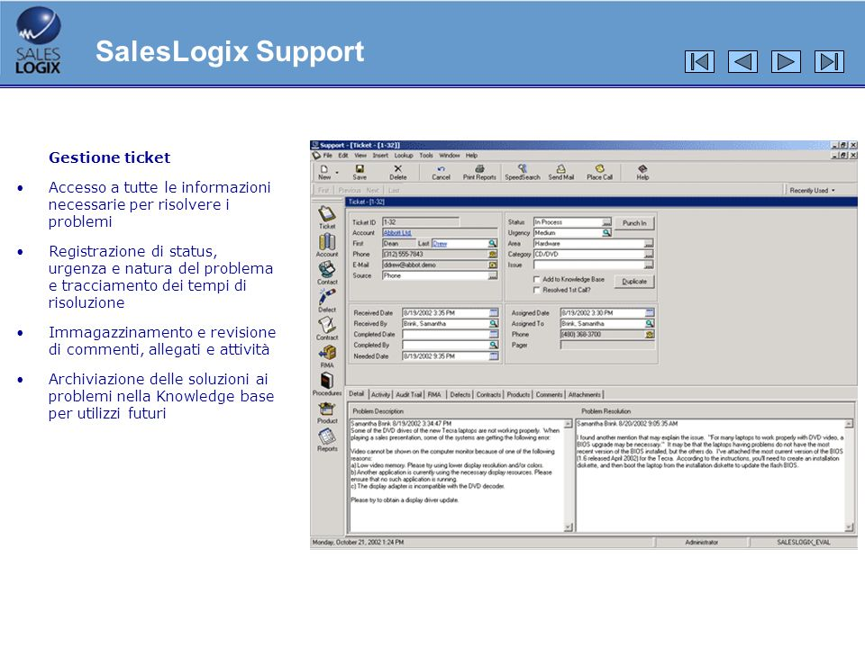 SalesLogix Support Gestione ticket