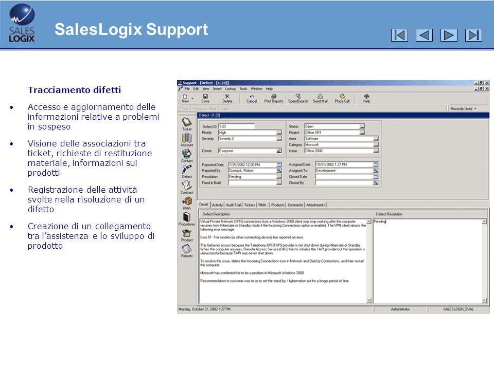 SalesLogix Support Tracciamento difetti