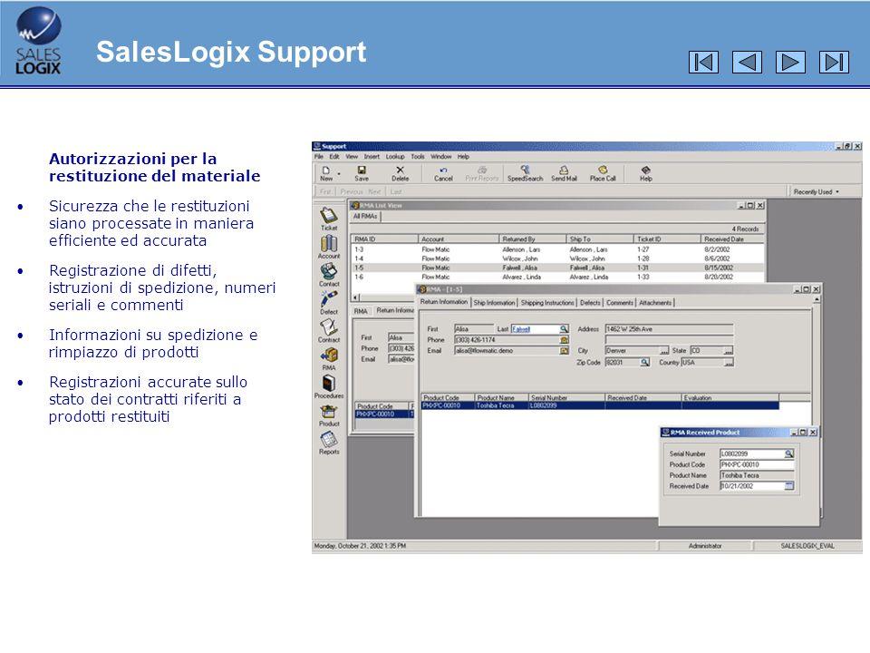 SalesLogix Support Autorizzazioni per la restituzione del materiale