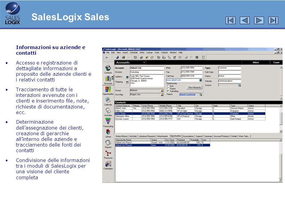 SalesLogix Sales Informazioni su aziende e contatti