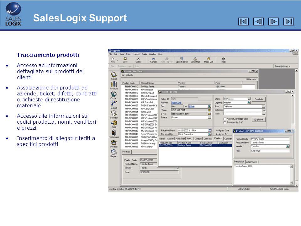 SalesLogix Support Tracciamento prodotti