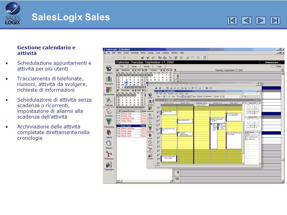 SalesLogix Sales Gestione calendario e attività