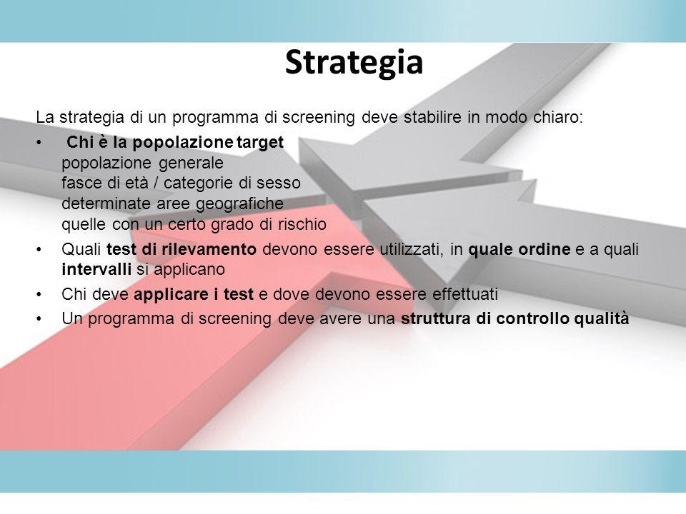 Strategia La strategia di un programma di screening deve stabilire in modo chiaro: