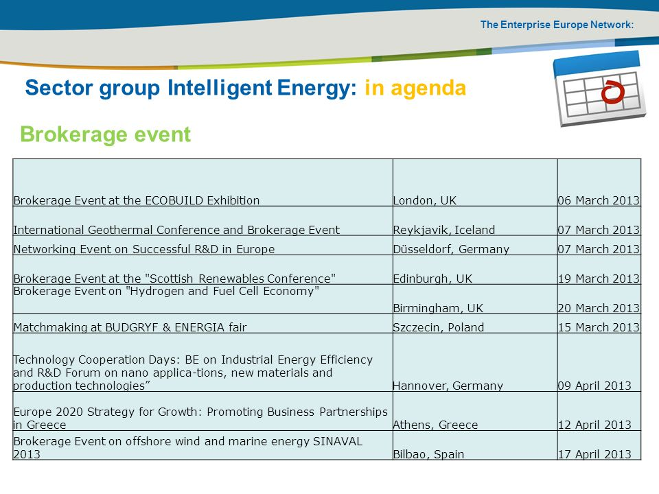 Sector group Intelligent Energy: in agenda