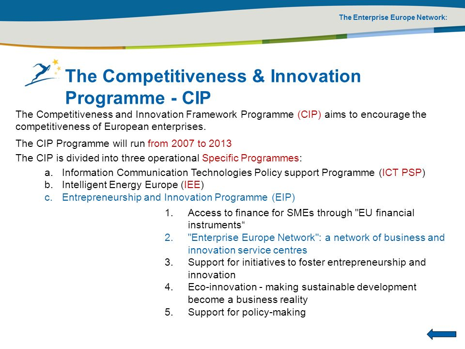The Competitiveness & Innovation Programme - CIP