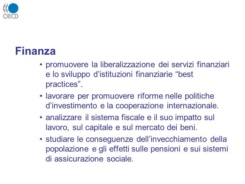 Finanza promuovere la liberalizzazione dei servizi finanziari e lo sviluppo d'istituzioni finanziarie best practices .
