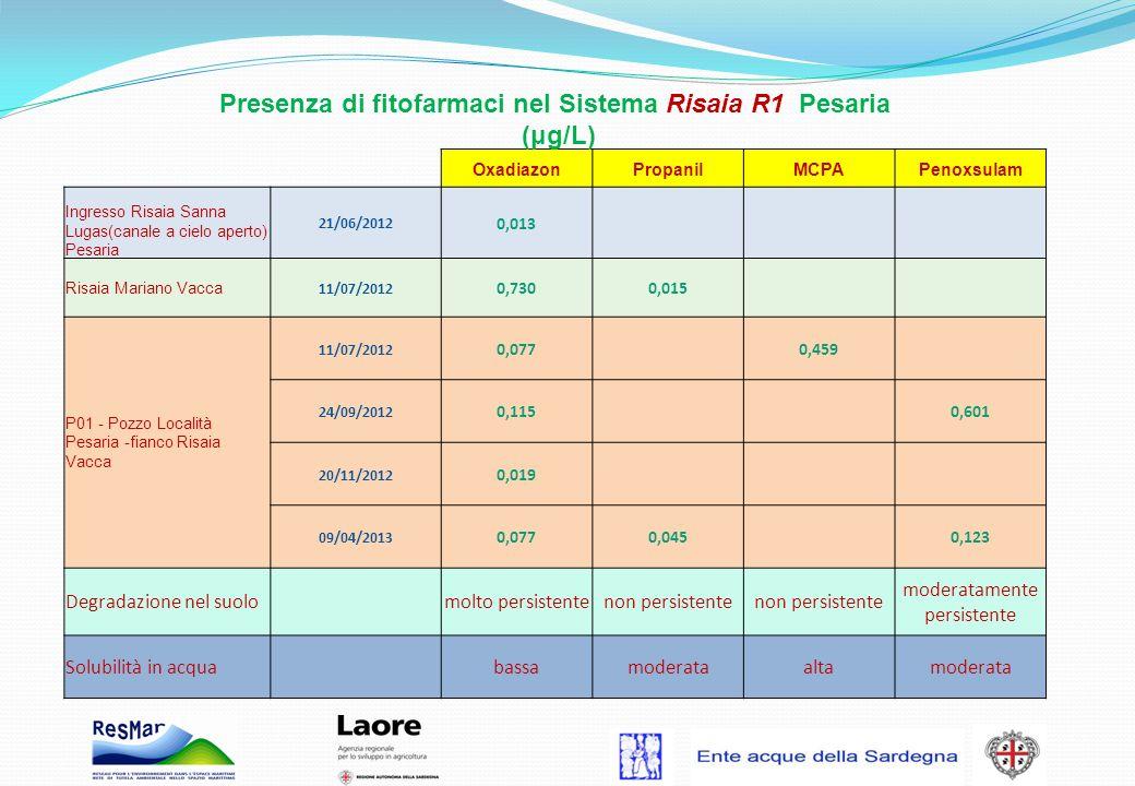 Presenza di fitofarmaci nel Sistema Risaia R1 Pesaria