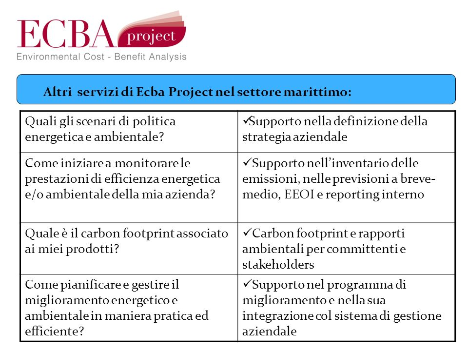 Altri servizi di Ecba Project nel settore marittimo: