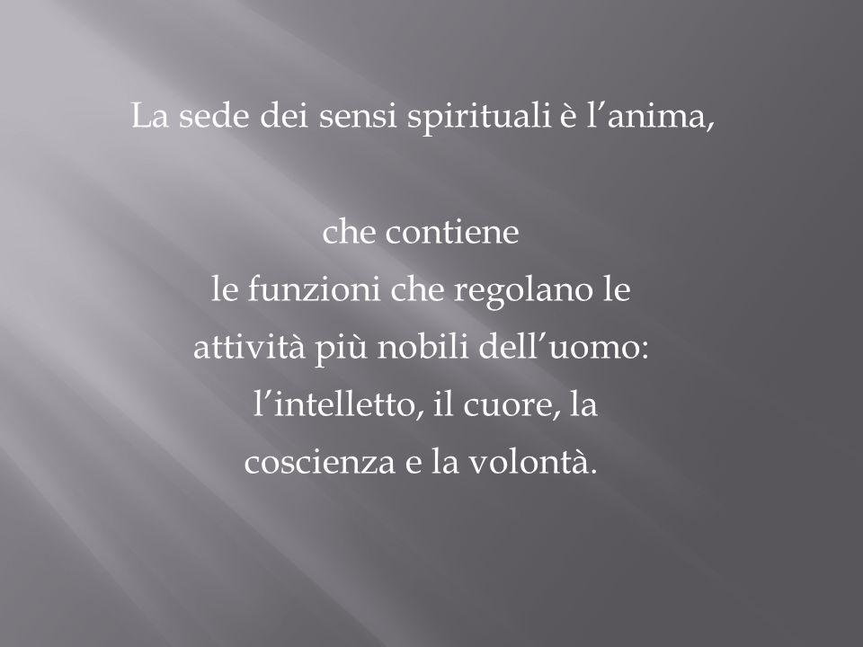 La sede dei sensi spirituali è l'anima,