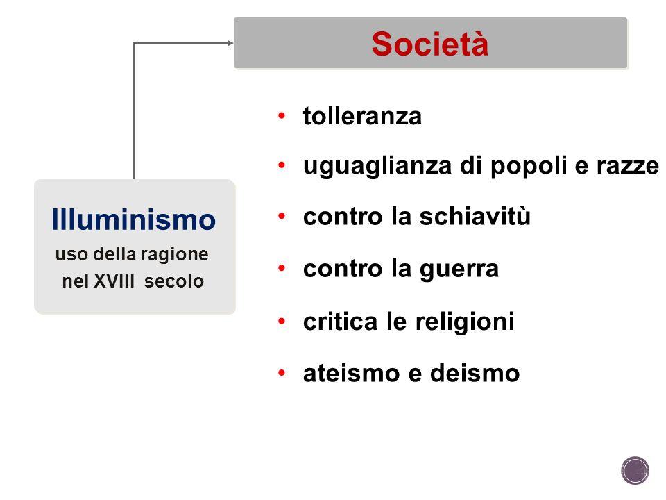 Società Illuminismo tolleranza uguaglianza di popoli e razze
