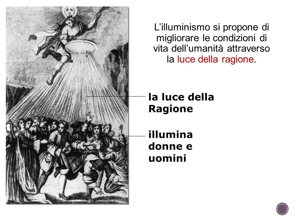 L'illuminismo si propone di migliorare le condizioni di vita dell'umanità attraverso la luce della ragione.