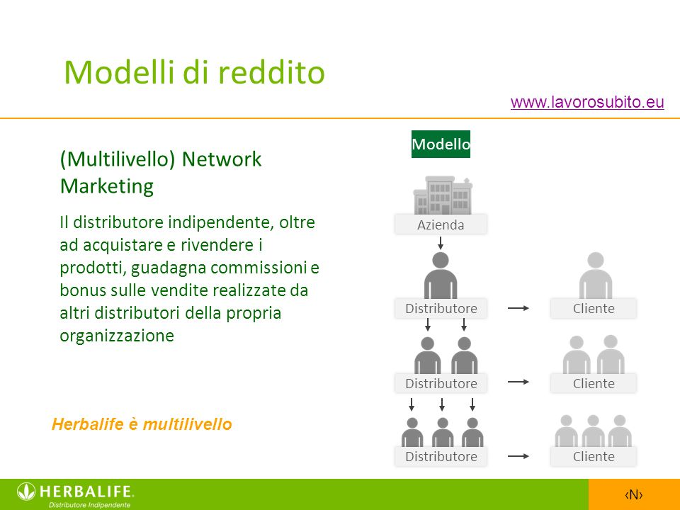 Modelli di reddito (Multilivello) Network Marketing