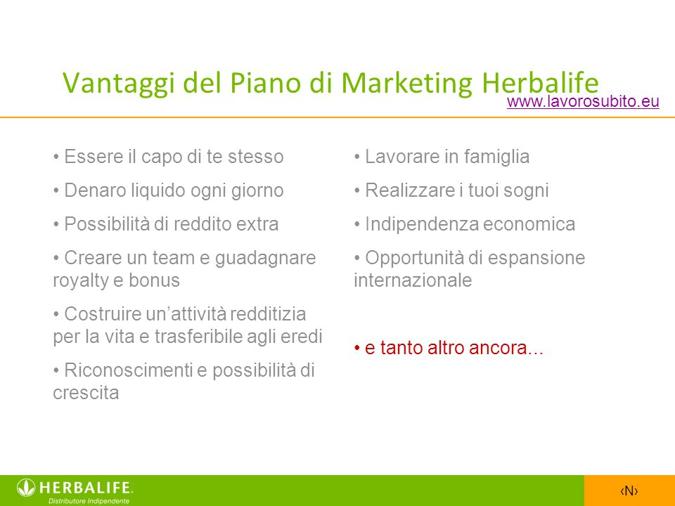 Vantaggi del Piano di Marketing Herbalife