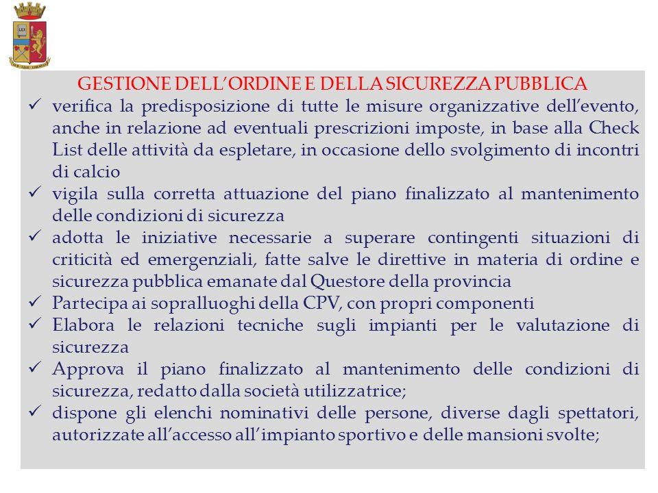 GESTIONE DELL'ORDINE E DELLA SICUREZZA PUBBLICA