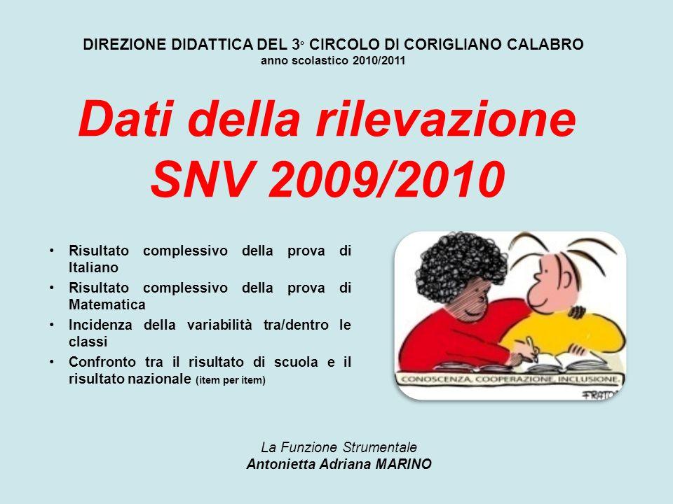 Dati della rilevazione SNV 2009/2010