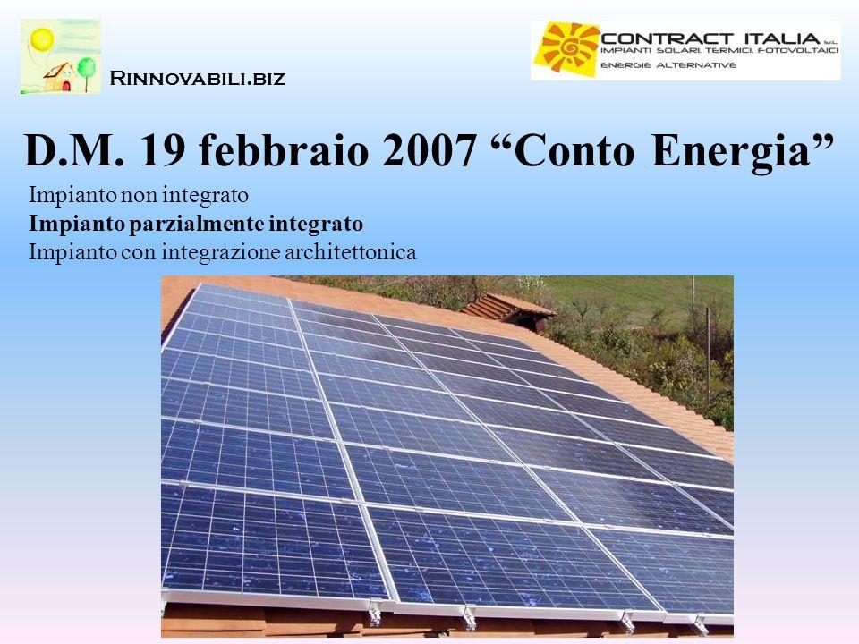 D.M. 19 febbraio 2007 Conto Energia