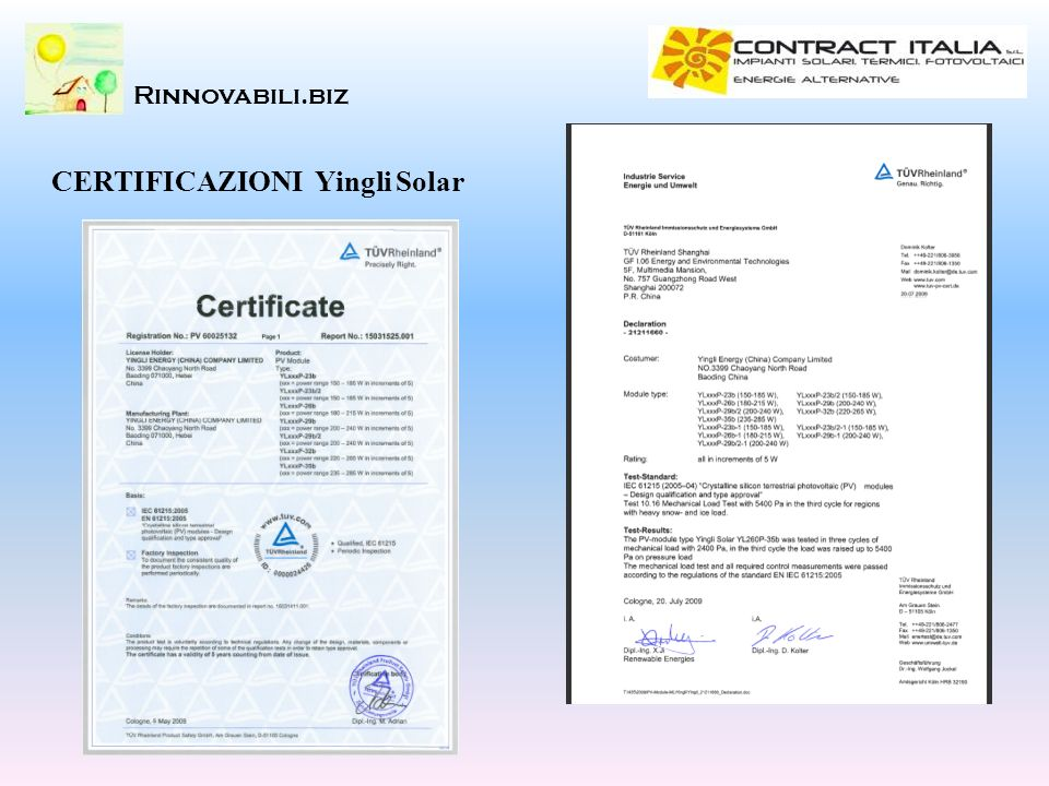 CERTIFICAZIONI Yingli Solar