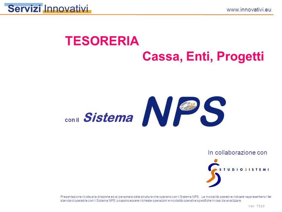 TESORERIA Cassa, Enti, Progetti In collaborazione con