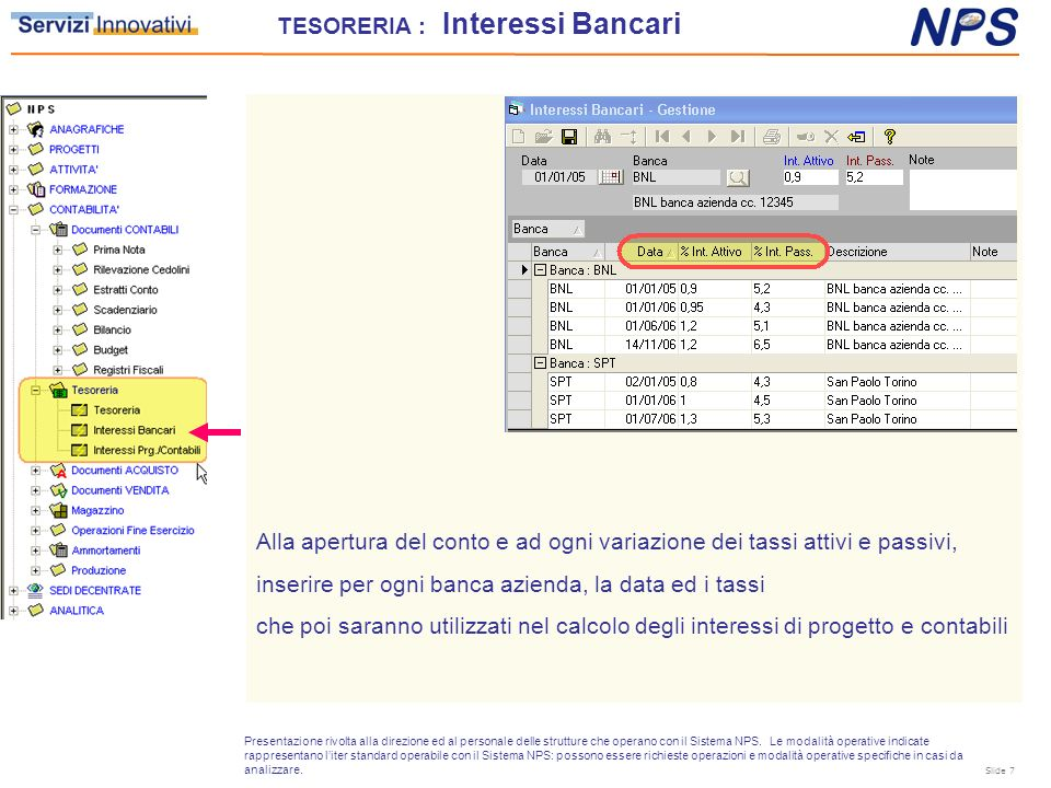 TESORERIA : Interessi Bancari