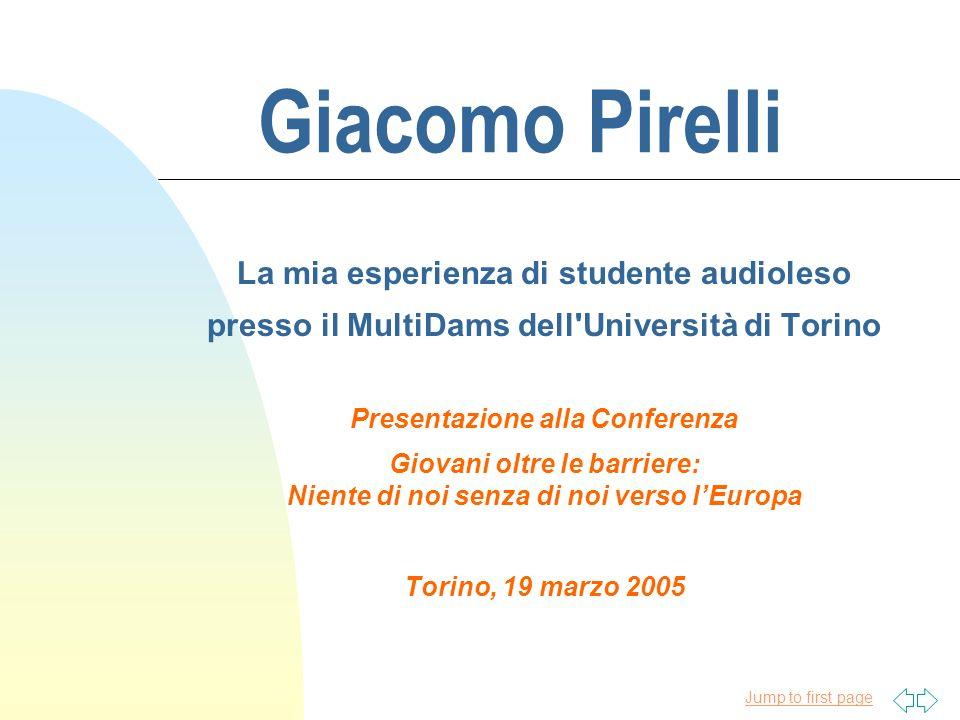 Giacomo Pirelli La mia esperienza di studente audioleso