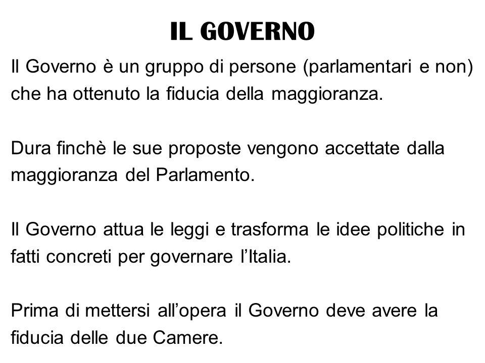 IL GOVERNO Il Governo è un gruppo di persone (parlamentari e non)