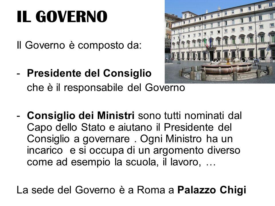 IL GOVERNO Il Governo è composto da: Presidente del Consiglio