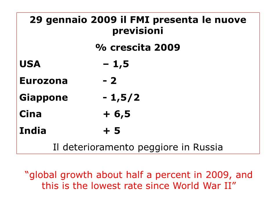29 gennaio 2009 il FMI presenta le nuove previsioni