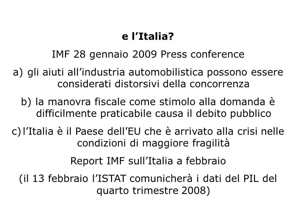 IMF 28 gennaio 2009 Press conference