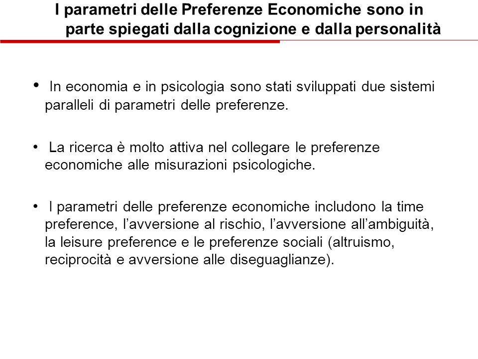 I parametri delle Preferenze Economiche sono in parte spiegati dalla cognizione e dalla personalità