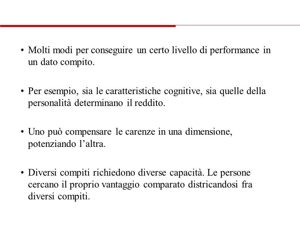 • Molti modi per conseguire un certo livello di performance in un dato compito.