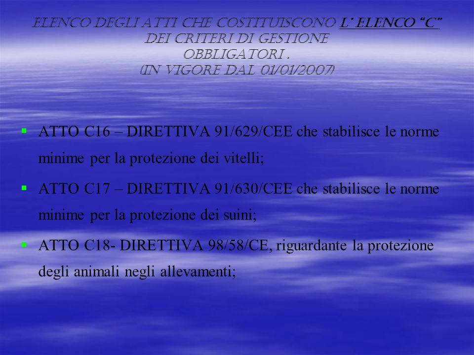 ELENCO DEGLI ATTI CHE COSTITUISCONO L' ELENCO C DEI CRITERI DI GESTIONE OBBLIGATORI . (IN VIGORE DAL 01/01/2007)