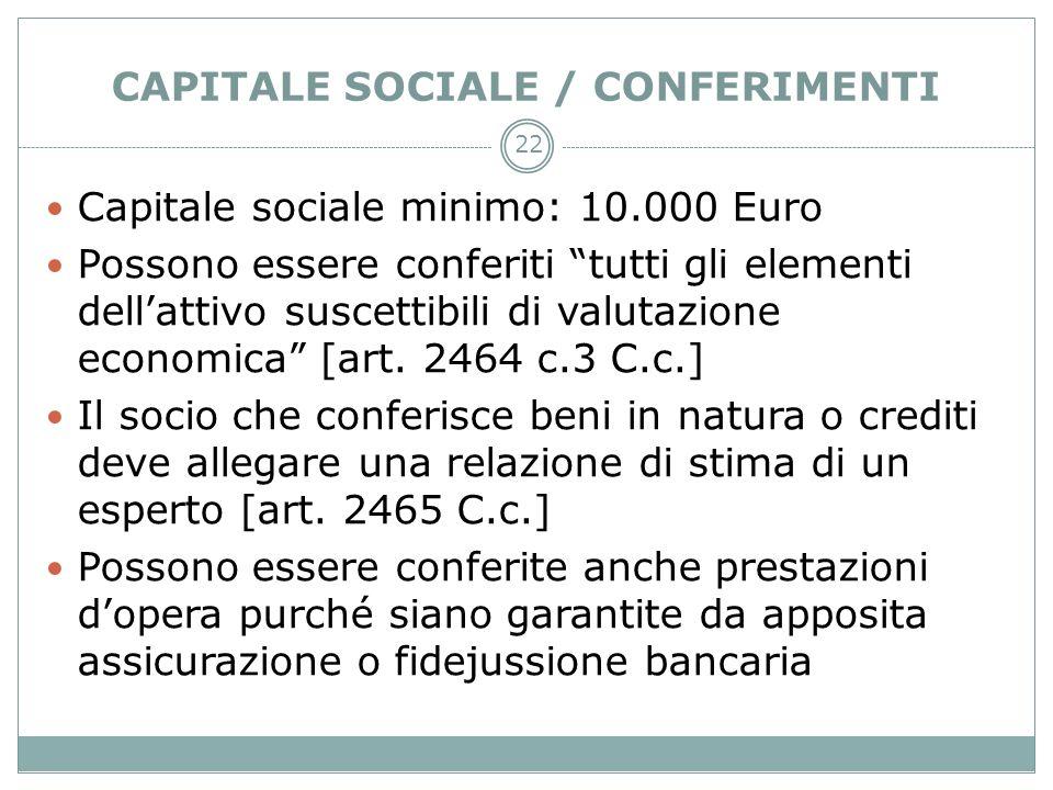 CAPITALE SOCIALE / CONFERIMENTI