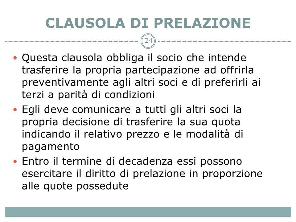 CLAUSOLA DI PRELAZIONE